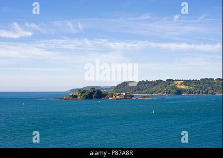 View over sea toward Drakes Island from the Hoe in Plymouth Devon England UK - Stock Image