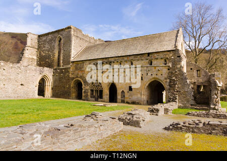 The ruins of Valle Crucis Abbey founded as a Cistercian monastery in 1201 and closed in 1537 during the dissolution of the monasteries - Stock Image