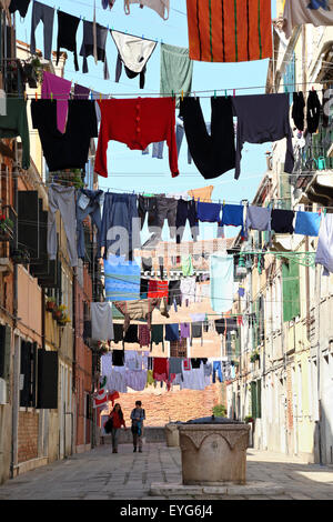 Clotheslines in Venice, Italy - Stock Image