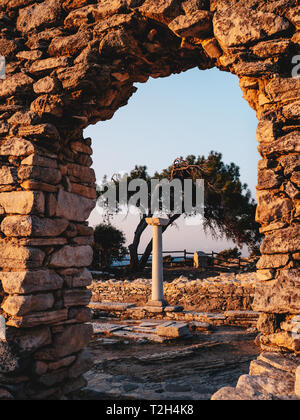 Stone ruins of the site at Aliki, Thasos, Greece - Stock Image