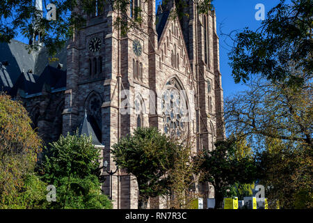 Strasbourg, Alsace, France, St Paul protestant church, trees, Neustadt district, - Stock Image