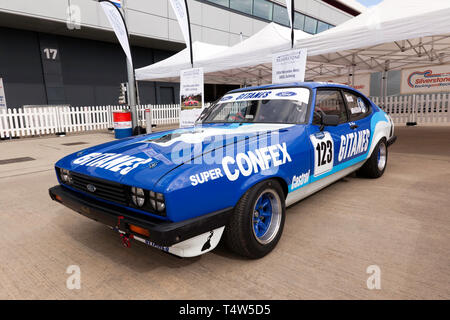 Ric Wood's 1974, Ford Capri, on display in the International Paddock, during  the 2019 Silverstone Classic Media Day. - Stock Image
