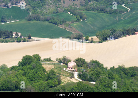 beautiful ,scenic and panoramic view of the rolling farm landscape  in Le Marche Italy - Stock Image