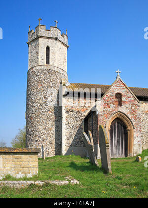 A view of the south porch and tower of the Church of St Mary at Hassingham, Norfolk, England, United Kingdom, Europe. - Stock Image