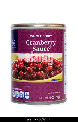 Kroger Brand Canned Whole Berry Cranberry Sauce - Stock Image