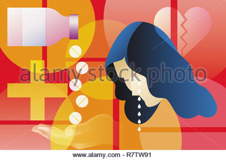 Depressed woman taking pills for a broken heart - Stock Image