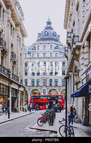 LONDON, UNITED KINGDOM - August 13th, 2018: architecture in London city centre near Regent Street - Stock Image