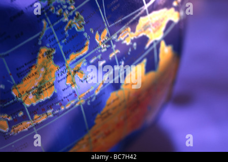 blue globe close up - Stock Image