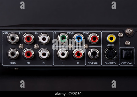 Close up of the plugs for the 5.1 surround sound system in a DVD player - Stock Image