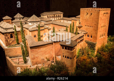 Cordoba, Spain - 2018, Sept 8th: Alhambra building scale model. Appearance at Emirate of Granada period. Calahorra Tower Museum, Cordoba, Spain - Stock Image