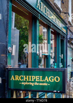 Archipelago Restaurant Fitzrovia - The Archipelago unusual food restaurant in Cleveland St, Fitzrovia, Central London - exotic meats and insect sides - Stock Image