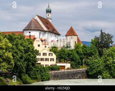 Franciscan monastery at river Lech,  Füssen, Fuessen, Bavaria, Germany - Stock Image