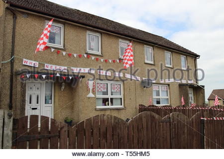 Houses decorated in support of New Cumnock's Glenafton football team in advance of the Scottish junior cup final 2014 - Stock Image