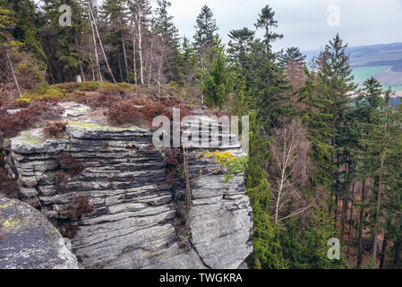 The edge of the Ostas table mountain in Ostas Nature Reserve in Table Mountains range in Czech Republic - Stock Image