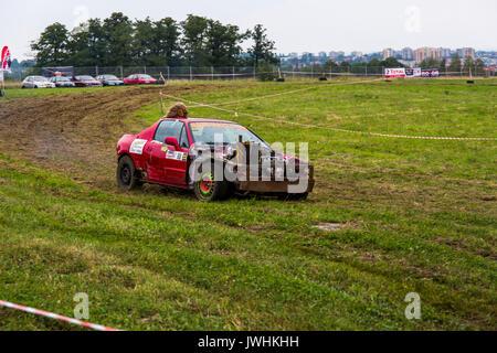 Bielsko-Biala, Poland. 12th Aug, 2017. International automotive trade fairs - MotoShow Bielsko-Biala. Wreck car race. Credit: Lukasz Obermann/Alamy Live News - Stock Image