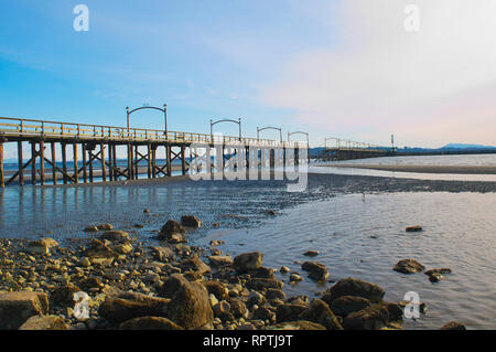 White Rock pier after the wind storm of 2018. - Stock Image