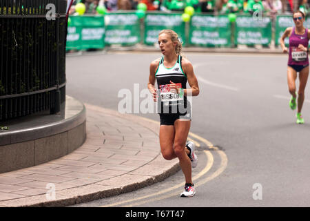 Emily Sisson (USA), competing in the Elite Women's 2019 London Marathon. Emily went on to finish 6th, in a time of  02:23:08 - Stock Image