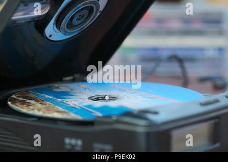 portable CD player - Stock Image