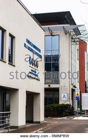 Poznan, Poland - February 2, 2019: Buildings of the PPNT university of technology on a cold winter day. The school is specialized in science and techn - Stock Image