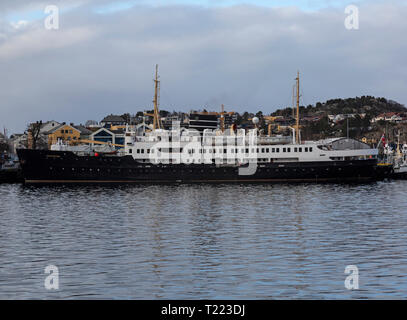 The passenger cruise ship MS Nordstjernen in port in the town of Kristiansund in Norway. Built in 1956 and part of the Hurtigruten fleet. - Stock Image