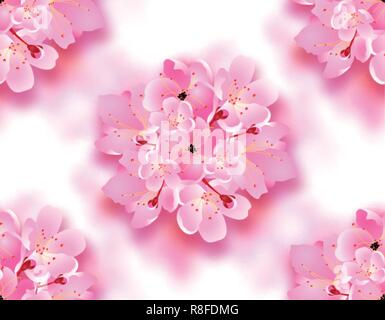 Decorative flowers of sakura, Cherry Blossoms bouquet with shadow. Seamless. Can be used for cards, invitations, posters. illustration - Stock Image