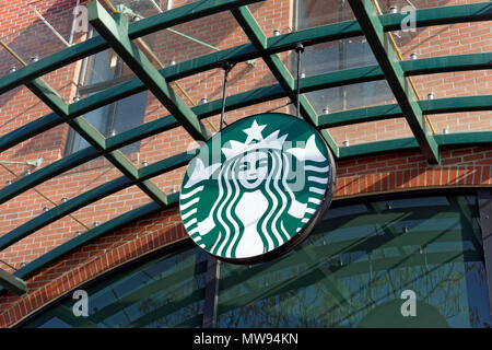 Starbucks Coffee shop mermaid logo in Park Royal Village shopping centre, West Vancouver, BC, Canada - Stock Image