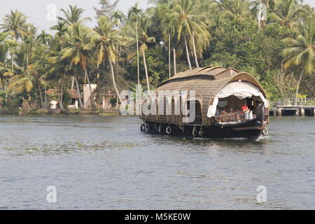 A houseboat in the backwaters of Alleppy, Kerala, India - Stock Image