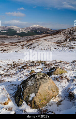 A view of the hills Craiggowrie, Creagan Gorm and Meall a' Bhuachaille seen from the flanks of Mount Cairngorm, - Stock Image