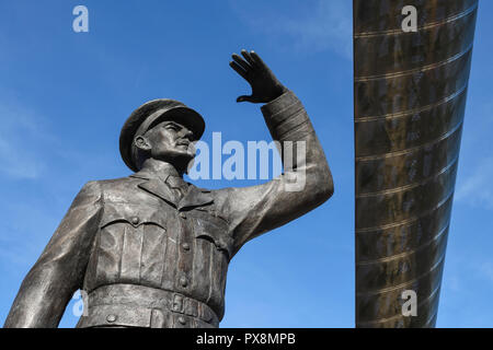 The statue of Sir Frank Whittle under the Whittle Arch on Hales Street in Coventry city centre UK - Stock Image