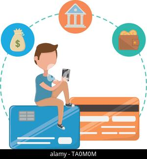Money icon set design, shopping online store ecommerce media market and internet theme Vector illustration - Stock Image