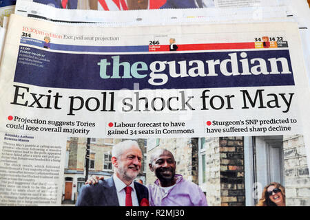 'Exit poll shock for May' the Guardian front page headlines London England  UK 9 June 2017 - Stock Image