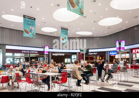 Food court in Kings Avenue Mall, Tombs of the Kings Avenue, Paphos (Pafos), Pafos District, Republic of Cyprus - Stock Image