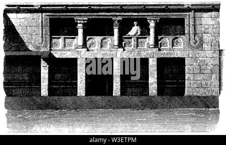 Courtyard of a Greek house, ,  (cultural history book, 1875) - Stock Image