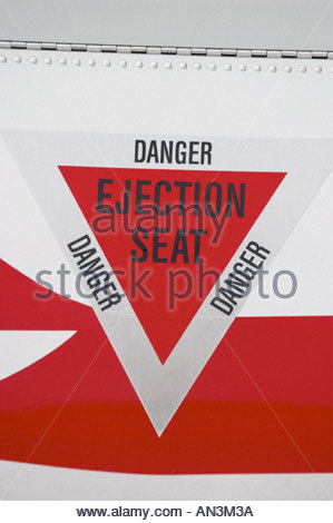 Pilatus PC9 trainer DANGER INJECTION SEAT triangle marking, Croatian Air Force - Stock Image