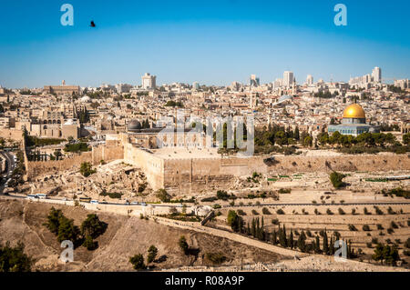 JERUSALEM, ISRAEL. October 30, 2018. Bird flying over the Temple Mount of the Old city of Jerusalem. A view of the Al Aqsa mosque and Dome of the Rock - Stock Image