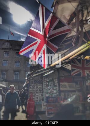 Union Jack flag flying in a market, Cambridge, U.K. - Stock Image