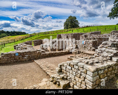 11 August 2018: Hadrian's Wall, Northumberland, UK - The best preserved Roman bath house in the UK at Chesters Roman Fort. - Stock Image