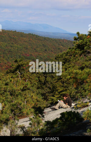 Hiker Tree and cliffs Shawangunk Mountains, The Gunks New York - Stock Image