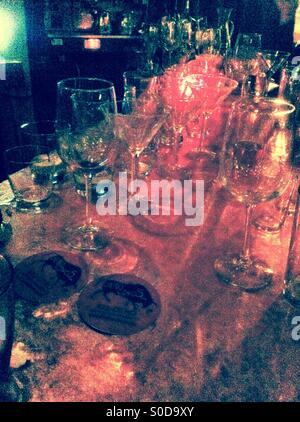 Bar scene-empty glasses - Stock Image