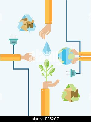 Environmental awareness vector with hands - Stock Image
