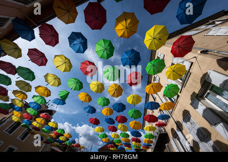 Umbrellas decorating the town of Gap in France - Stock Image