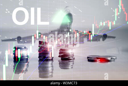 Oil trend up. Crude oil price stock exchange trading up. Price oil up. Arrow rises. Abstract business background. coins on city background - Stock Image
