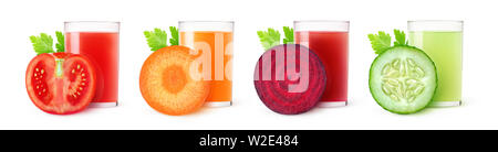 Isolated vegetable juices. Glasses of tomato, carrot, beet and cucumber drinks and one slice of fresh fruit isolated on white background with clipping - Stock Image