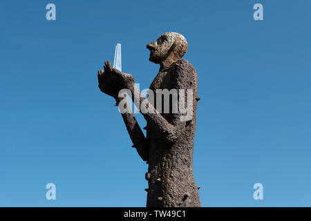 Statue of The Man From The Sea, Bo village, Vesteralen Islands, Norway. - Stock Image