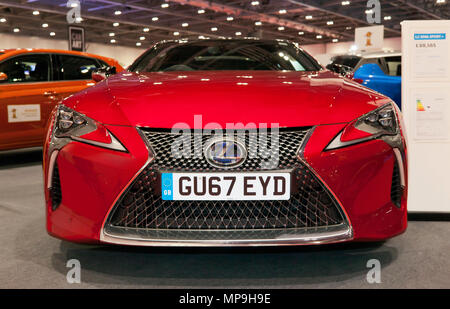Front view of a 2017 Lexus LC  500h Sport +, hybrid electric vehicle, on display at the 2018 London Motor Show - Stock Image