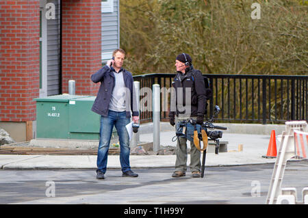 Maple Ridge, B. C. March 25, 2019.  Canadian Prime Minister Justin Trudeau to address the media about affordable housing.  CityTV news crew on site. - Stock Image