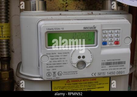 Domestic digital gas meter - Stock Image