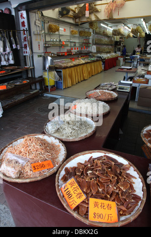dried fish and meat display shop streetscene - Stock Image