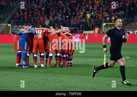 Brussels, Belgium. 21st Mar, 2019. BRUSSELS, BELGIUM - MARCH 21, 2019: Russia's players huddle ahead of their UEFA Euro 2020 qualifying football match against Belgium at King Baudouin Stadium. Anton Novoderezhkin/TASS Credit: ITAR-TASS News Agency/Alamy Live News - Stock Image
