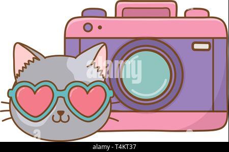 cat and photographic camera icon cartoon vector illustration graphic design - Stock Image